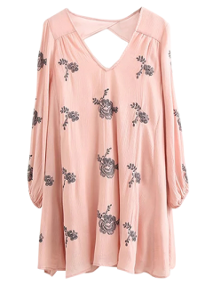 Long Sleeve Embroidered Swing Dress - Pink M