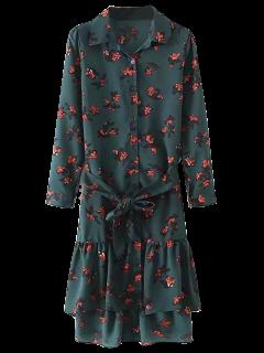 Camisa De Vestir Impreso Dobladillo De La Colmena - Verde Negruzco M