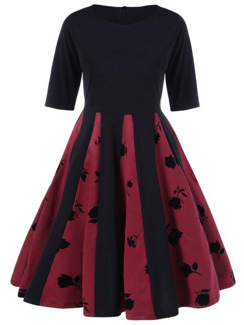 Rose Imprimer Plissé Robe évasée - Noir et Rouge L Mobile