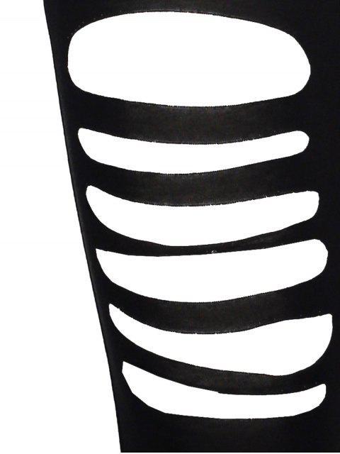 fancy High Rise Ripped Leggings - BLACK L Mobile