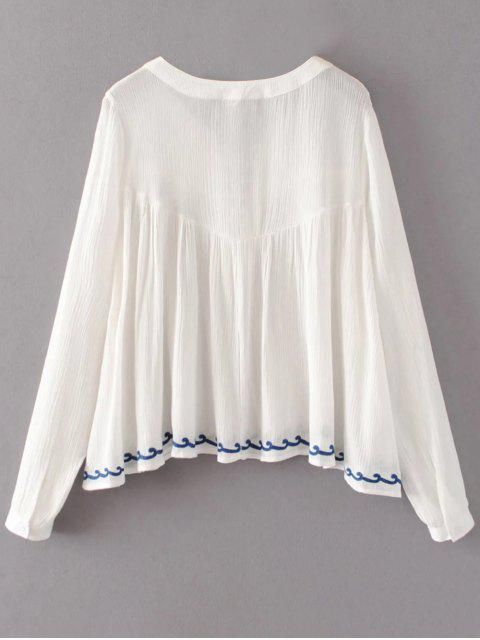 online Embroidered Lace-Up Blouse - WHITE M Mobile