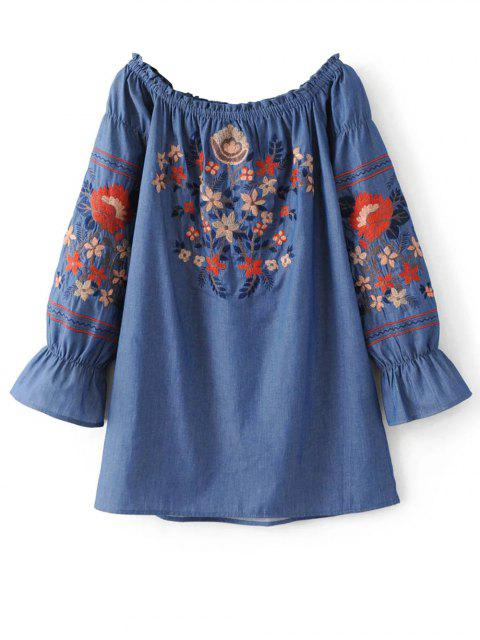 outfits Off The Shoulder Floral Embroidered Blouse - BLUE S Mobile