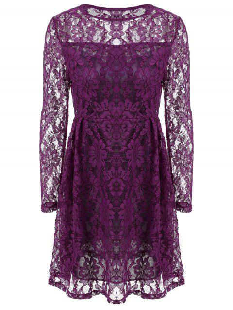 women's See-Through Long Sleeve Lace Dress - PURPLE S Mobile