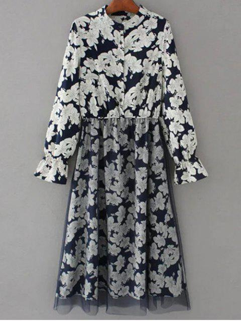outfits Long Sleeve Tulle Panelled Floral Dress - PURPLISH BLUE S Mobile