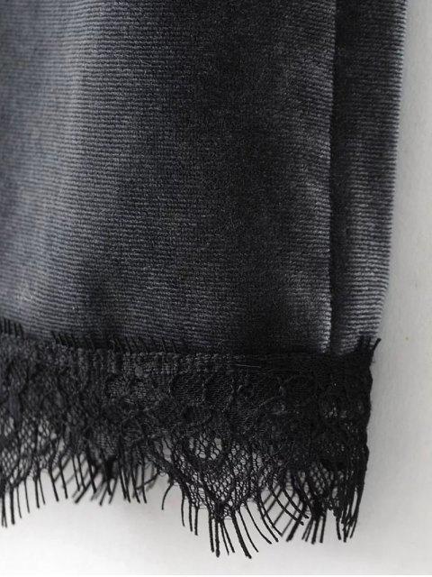 latest Eyelash Lace Velvet Cami Dress - BLACK S Mobile