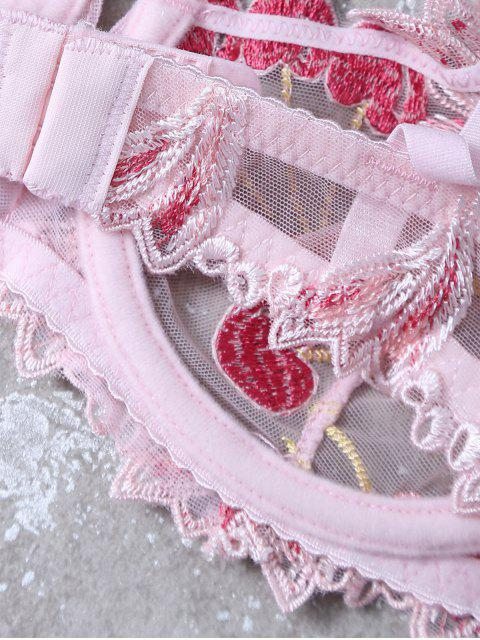 shop Embroidered Lace Panel See-Through Bra Set - PINK 85B Mobile