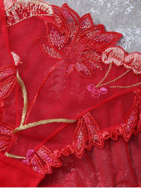 womens Embroidered Lace Panel See-Through Bra Set - RED 85C Mobile