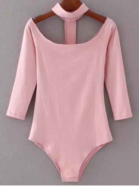 affordable Skinny Off The Shoulder Choker Bodysuit - PINK M Mobile