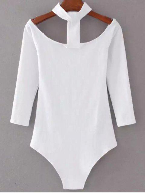 women Skinny Off The Shoulder Choker Bodysuit - WHITE S Mobile
