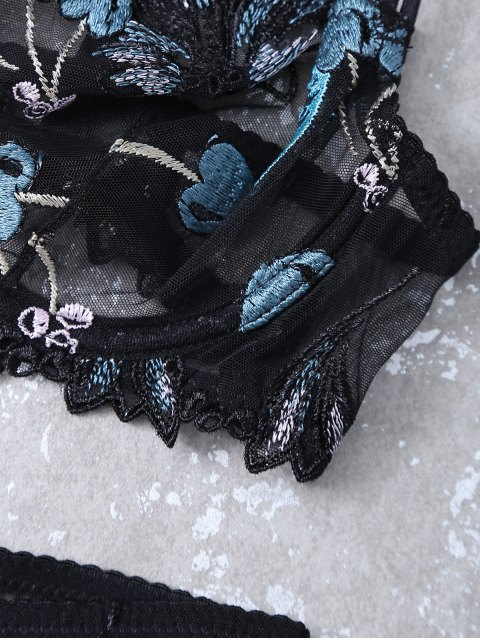 fashion Embroidered Lace Panel See-Through Bra Set - BLACK 75C Mobile