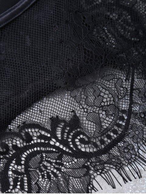 chic Bowknot Lace Panel Scalloped Bra Set - BLACK 75B Mobile
