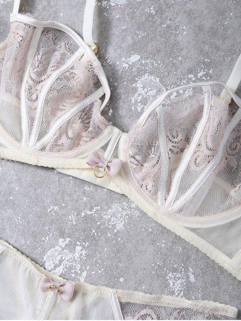 women Bowknot Lace Panel Scalloped Bra Set - APRICOT 85B Mobile