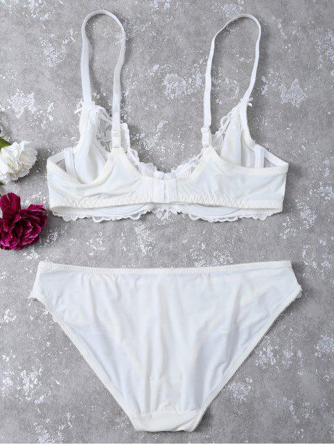 shops Floral Embroidered Lace Panel Bra Set - WHITE 70C Mobile