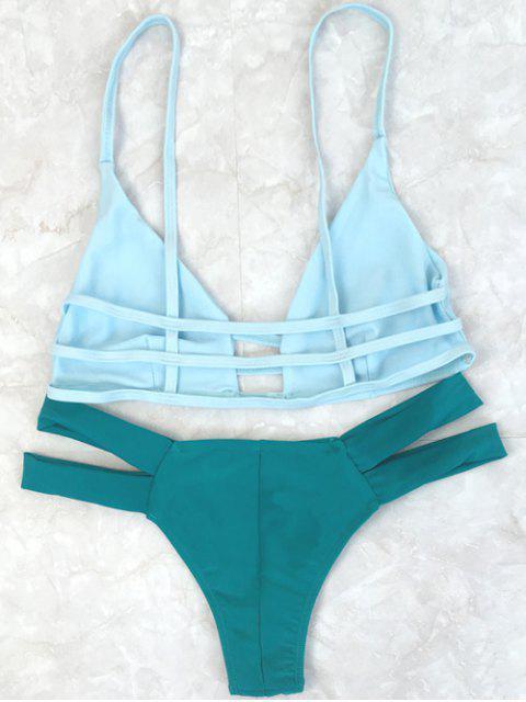 shops Spaghetti Straps Color Block Bikini Set - GREEN XL Mobile