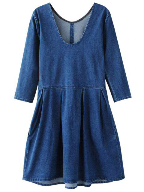 chic Back U Neck Jean Dress - BLUE S Mobile