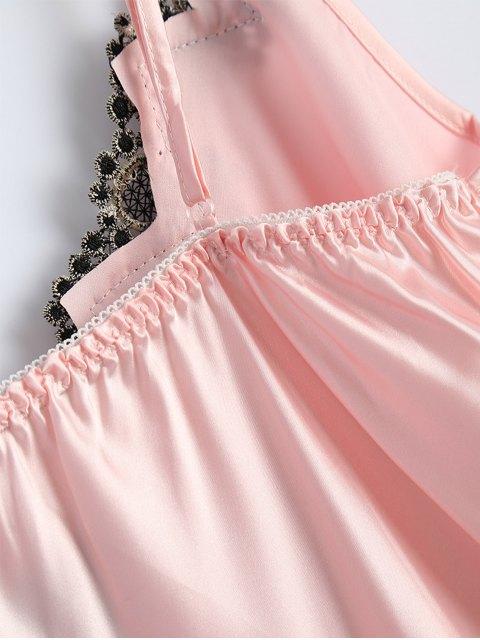 sale Slip Rose Faux Silk Babydolls - LIGHT PINK ONE SIZE Mobile