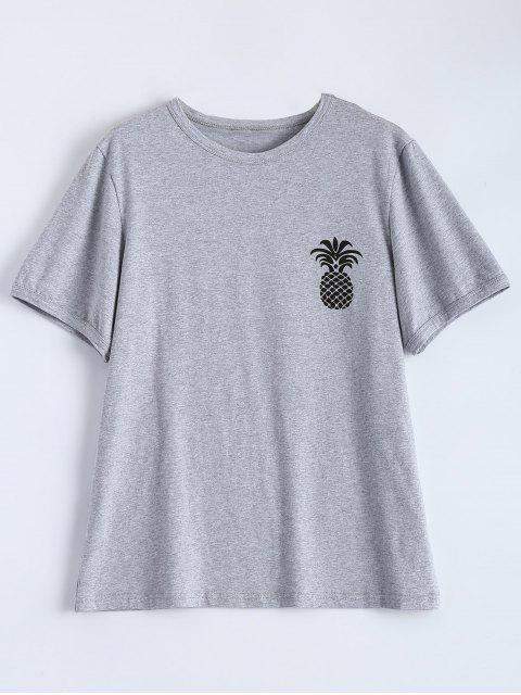 affordable Pineapple Print Tee - GRAY 2XL Mobile