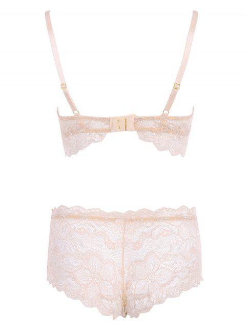 sale See Through Lace Bra Set - LIGHT PINK L Mobile