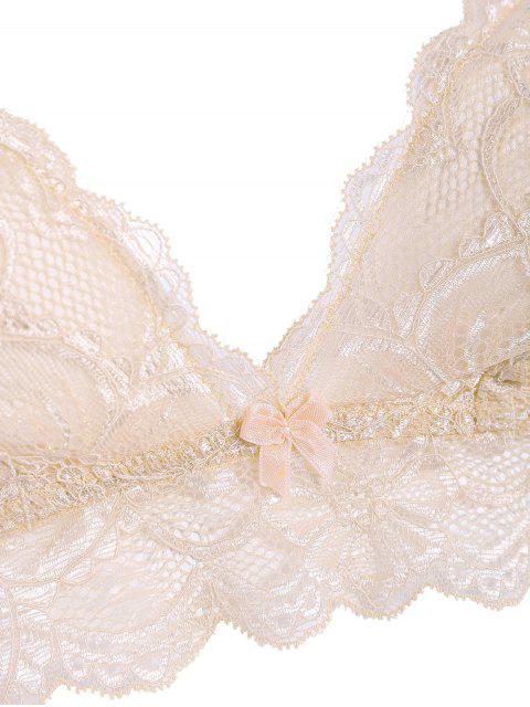 buy See Through Lace Bra Set - LIGHT PINK S Mobile