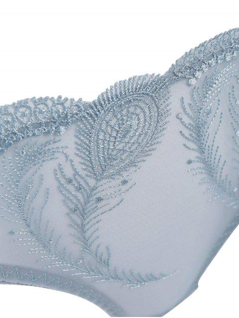 trendy Ultra Thin Embroidered Bra Set - BLUE GRAY 85D Mobile