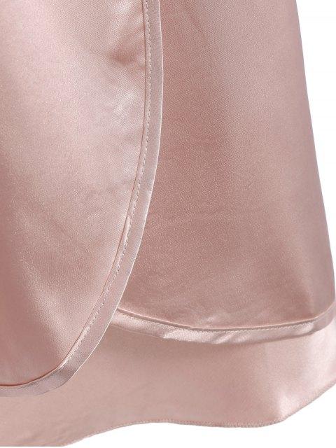 sale Faux Silk Outerwear and Slip Dress Loungewear - NUDE PINK L Mobile