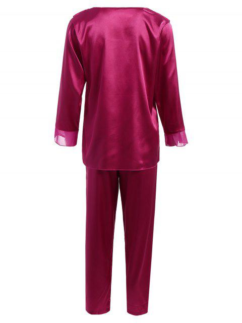 trendy Fringed Ruffle Pullover Faux Silk Loungewear - PURPLISH RED XL Mobile