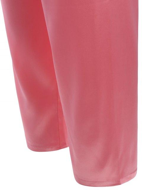 lady Lace Panel Long Sleeve Faux Silk Pajama Suit - PAPAYA L Mobile