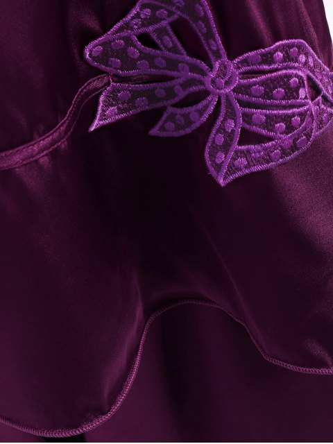 outfits Bowknot Faux Silk Sleepwear Suit - DEEP PURPLE L Mobile