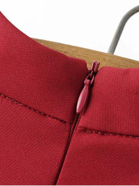 online Mock Neck Butterfly Sleeve Mini Dress - RED S Mobile