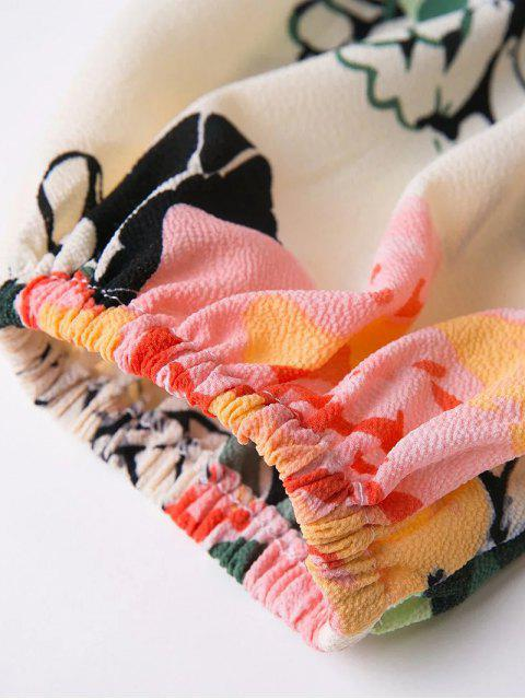 women Floral Print Waist Cutout Keyhole Dress - FLORAL L Mobile