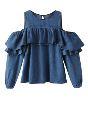 Ruffles Cold Shoulder Denim Blouse - Blue L