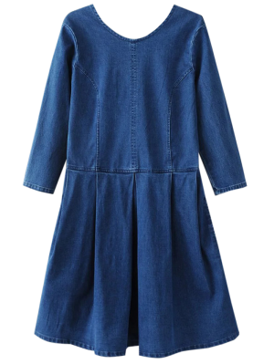 Volver De Cuello U Vestido De Jean - Azul S