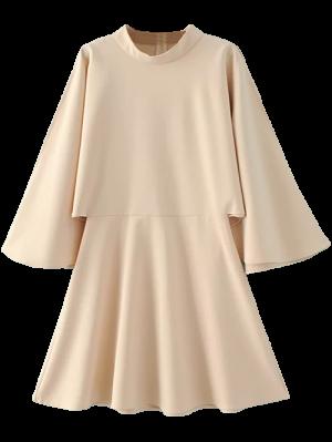 Mock Neck Butterfly Sleeve Mini Dress - Off-white S