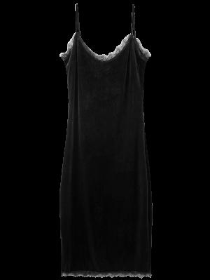 Terciopelo Cordón De La Pestaña Vestido De Cami - Negro S