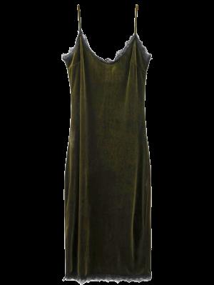 Eyelash Lace Velvet Cami Dress - Blackish Green L