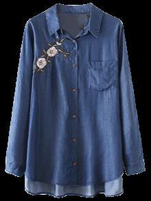 Floral Tunique Brodée Pocket Chemise En Chambray - Bleu Foncé M