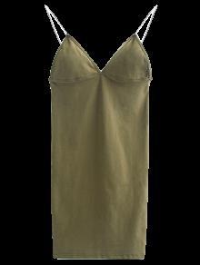 Elástica Tirante De Espagueti Mini Vestido Ajustado - Lino Verde M