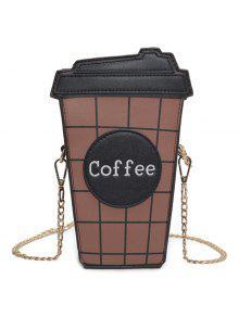كأس القهوة منقوشة حقيبة كروسبودي - أسود