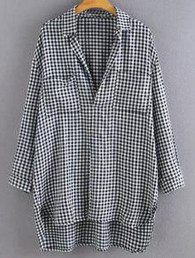 Haut Bas Surdimensionnées Plaid Pull Shirt - Carré M