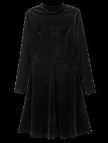 Stand Neck Long Sleeve Velvet Mini Dress - Black M