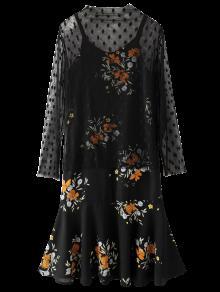 Dotted Tulle Top Et Imprimé Robe Chasuble - Noir M
