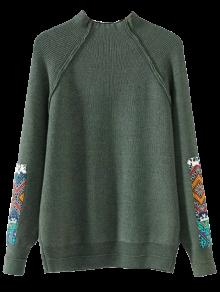 Buy Mock Neck Patched Ribbed Sweater - ARMY GREEN ONE SIZE