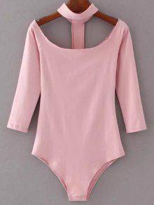 Skinny Off The Shoulder Choker Bodysuit - Pink M
