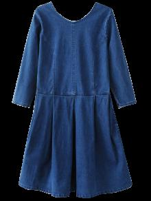 Retour U Neck Jean Dress - Bleu S