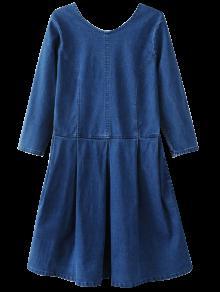 Vestido Jeans Grosso Gola U Com Bolsos - Azul S