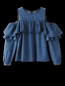 Ruffles Cold Shoulder Denim Blouse - Blue L
