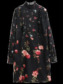 Ruffle Mock Neck Long Sleeve Floral Tunic Dress - Black S