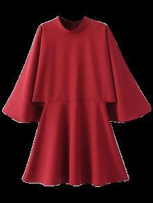 Mock Neck Butterfly Sleeve Mini Dress - Red M