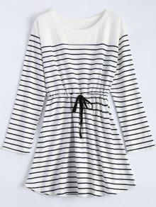 Drawstring Manches Longues à Rayures Lounge Robe - Blanc M