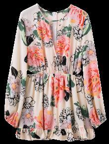Floral Print Waist Cutout Keyhole Dress - Floral M